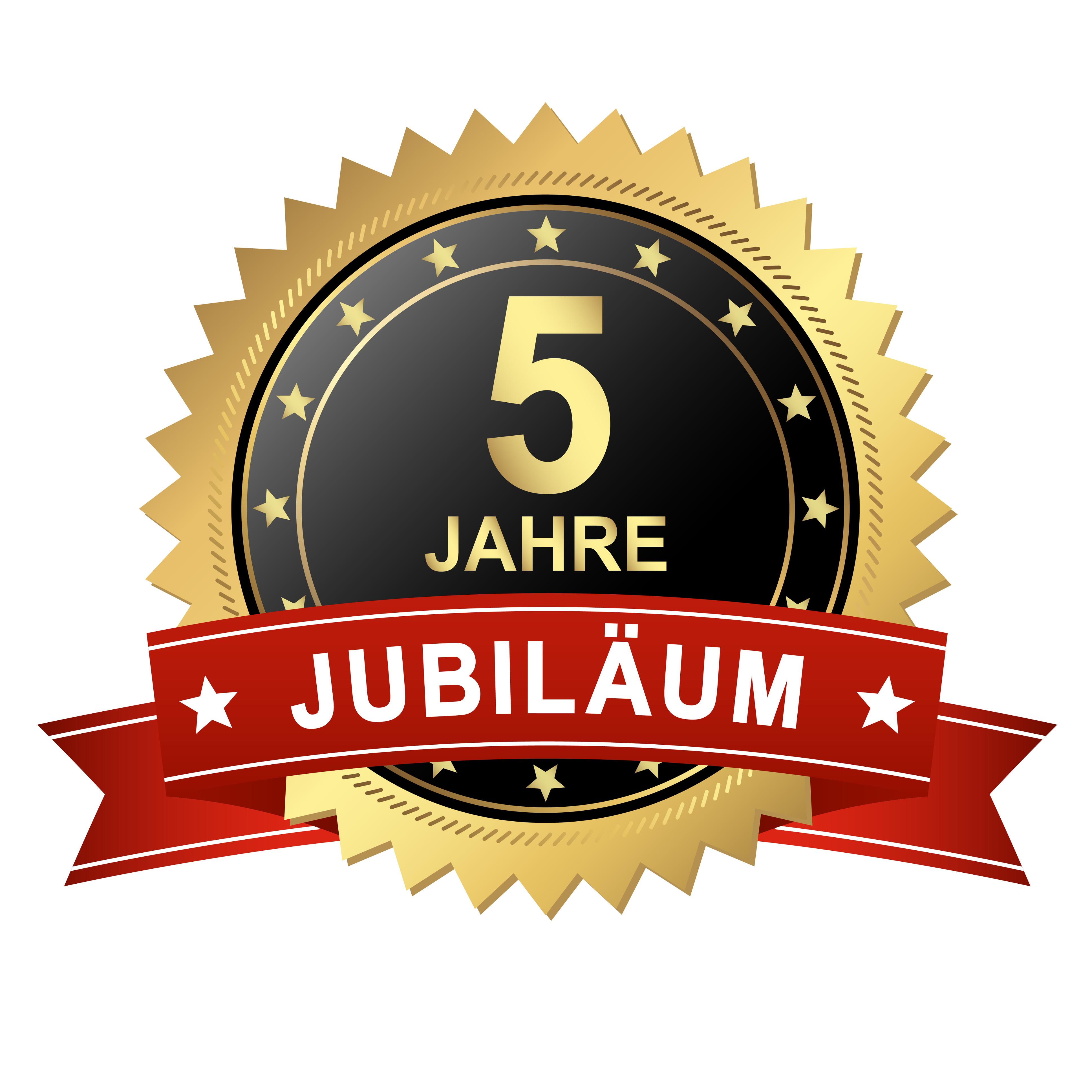 Button mit Banner - Jubiläum 5 Jahre - Burhoff online Blog