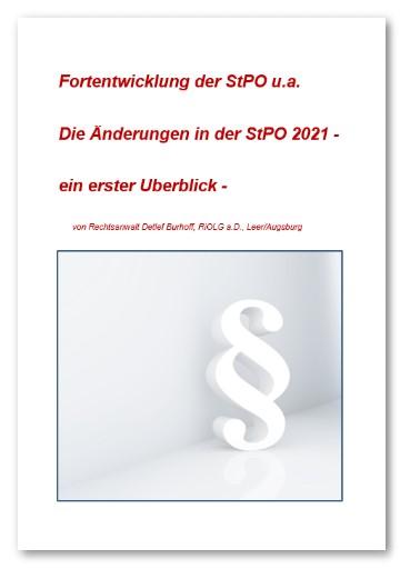 Burhoff: Fortentwicklung der StPO 2021 eBook